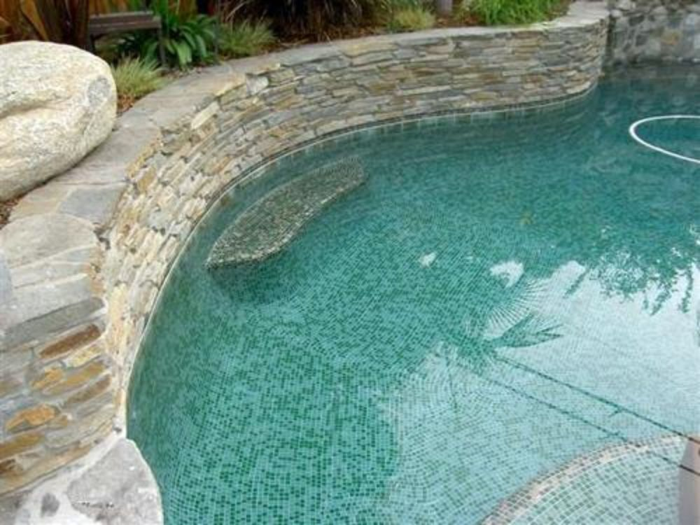 Gold and Green Pool and Hot Tub
