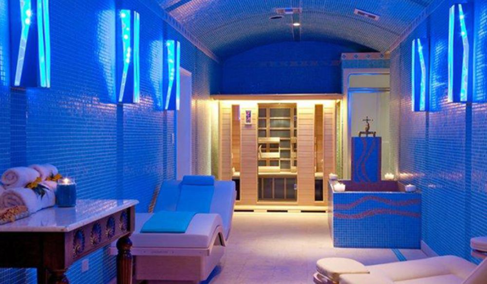 Healing spa with tranquil blue ORGANIKS tile design