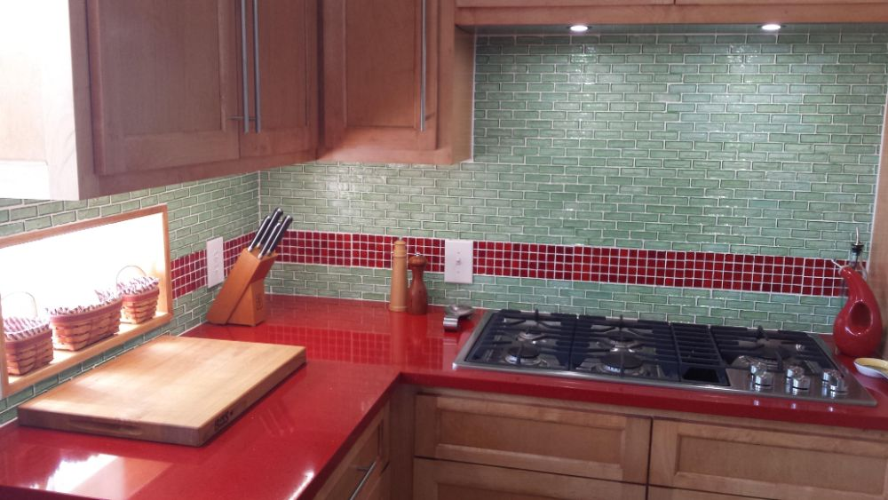 Green and Red Tile Kitchen
