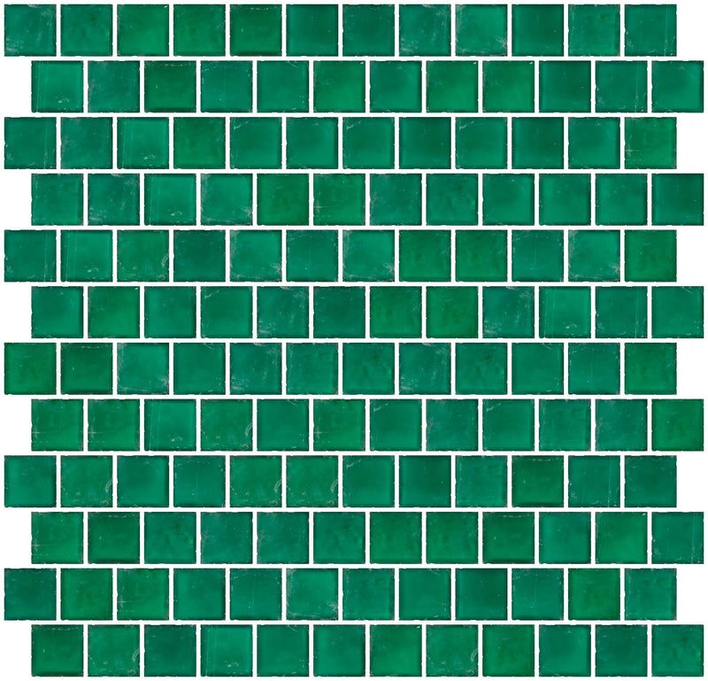 1 Inch Matte Teal Green Glass Tile Reset In Offset Layout