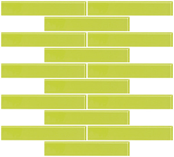 1x6 Inch Lime Green Glass Subway Tile Reset In Running-brick Layout