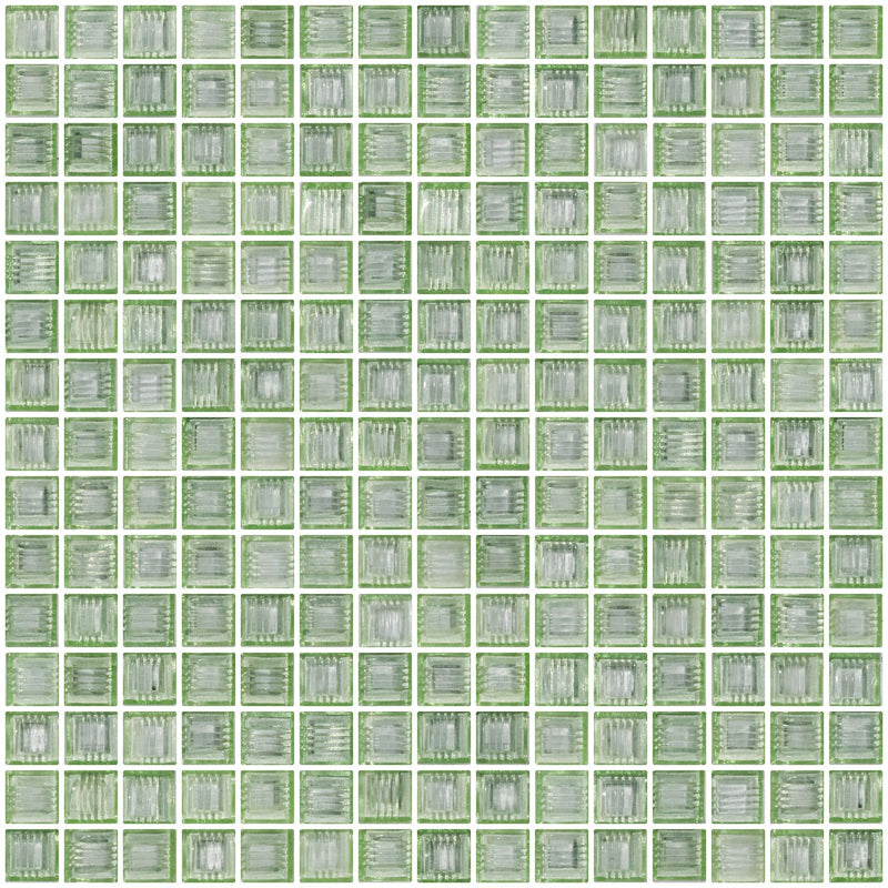 3/4 Inch Transparent Light Lime Green Glass Tile