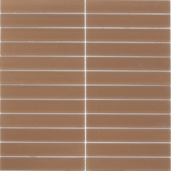 Sheet of 1x6 Inch Subway Mocha Brown Frosted Glass Tile