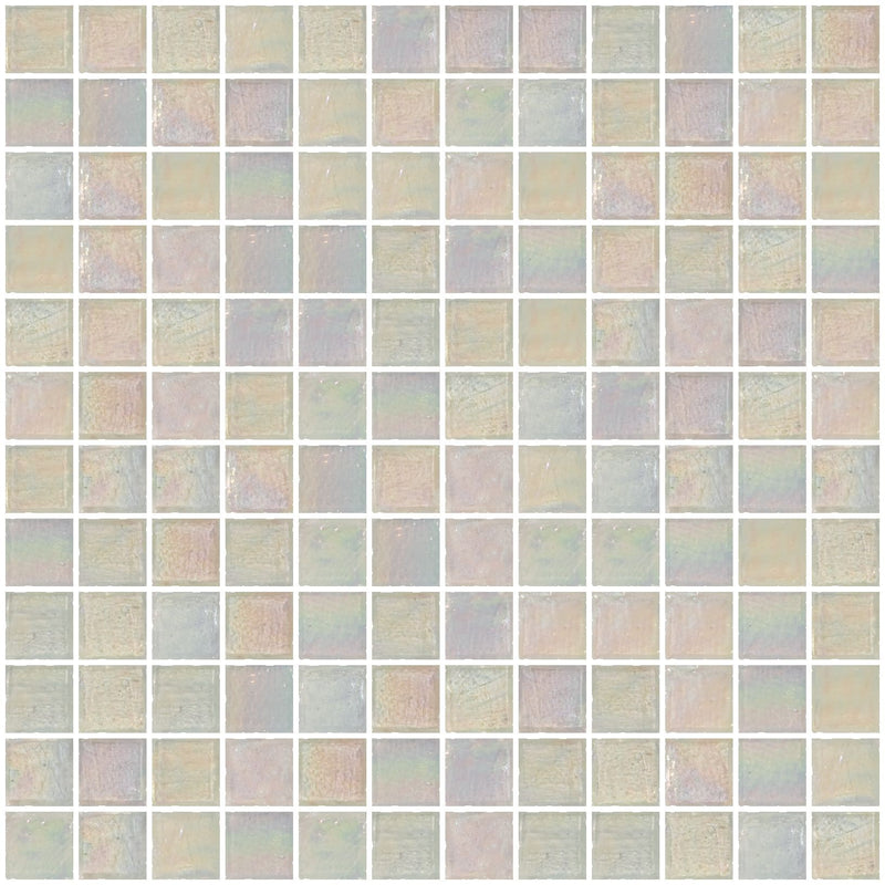 1 Inch Icy White Iridescent Glass Tile