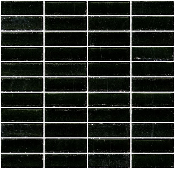 1x3 Inch Black Transparent Glass Subway Tile Stacked