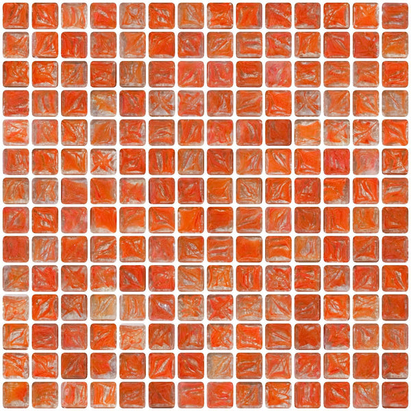 3/4 Inch Orange Marbled Glass Tile