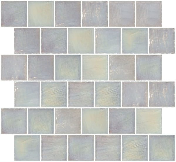2x2 Inch Icy White Iridescent Glass Tile Reset In Offset Layout