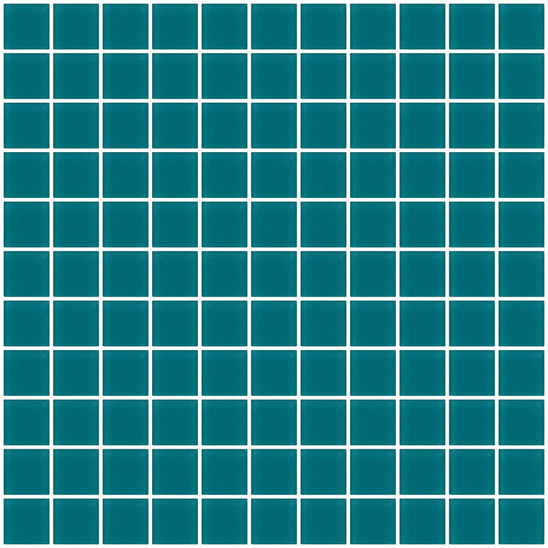 1 Inch Medium Teal Green Frosted Glass Tile