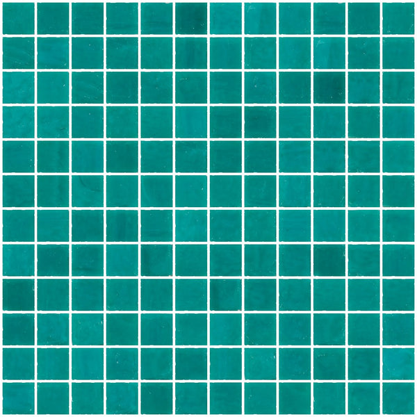 1 Inch Opaque Teal Green Glass Tile