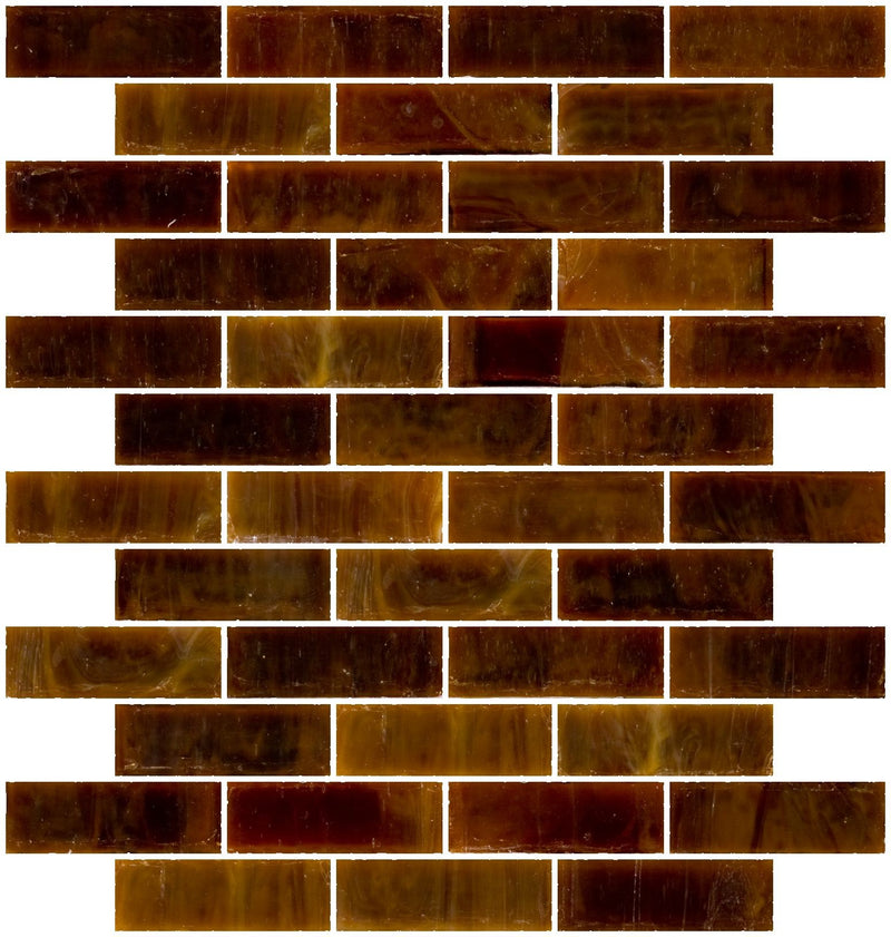 1x3 Inch Opaque Butterscotch Brown Glass Subway Tile