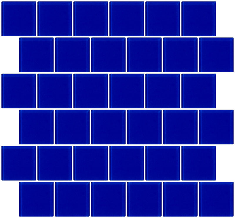 2x2 Inch Cobalt Blue Glass Tile Offset
