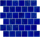 2x2 Inch Matte Cobalt Blue Glass Tile Reset In Offset Layout
