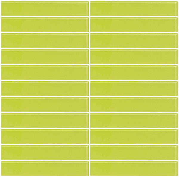 1x6 Inch Lime Green Glass Subway Tile