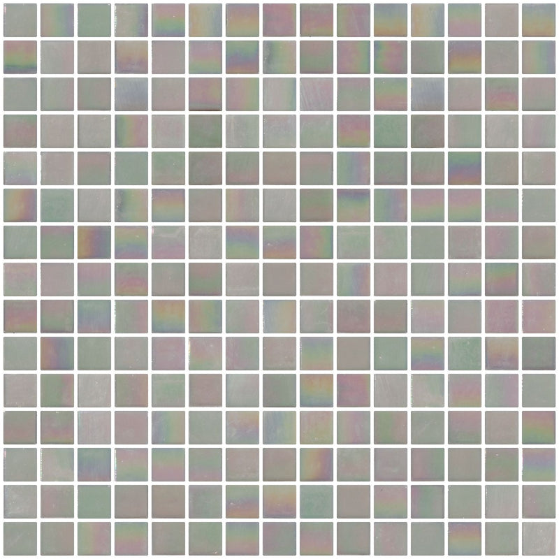 3/4 Inch Soft Light Gray Shimmer Iridescent Glass Tile