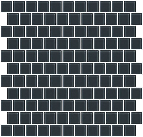 1 Inch Dark Gray Glass Tile Reset In Offset Layout