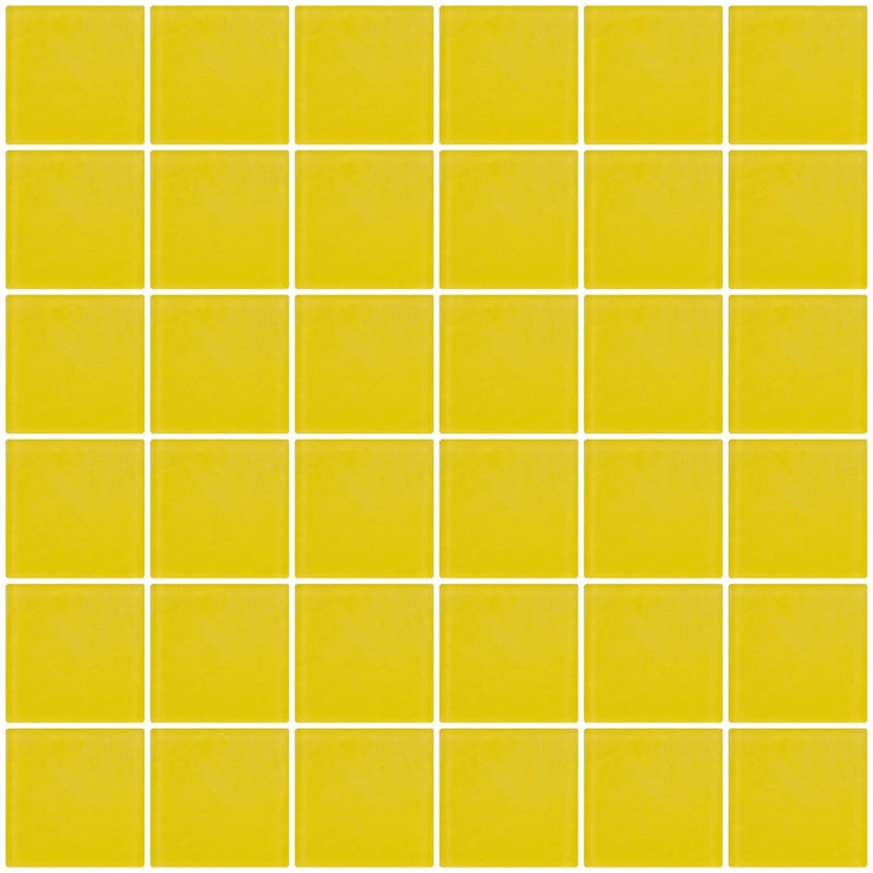 2x2 Inch Bright Yellow Frosted Glass Tile