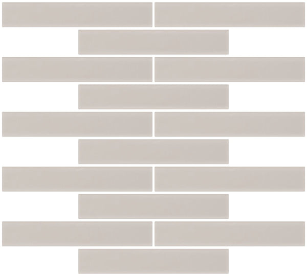 1x6 Inch Creme Bone White Frosted Glass Subway Tile