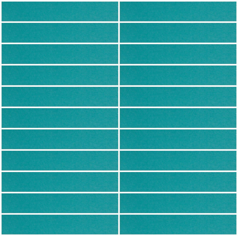 1x6 Inch Teal Blue Mirror Glass Subway Tile