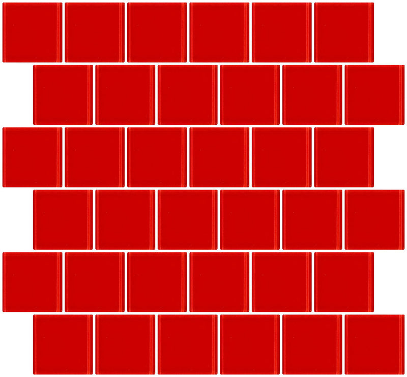 2x2 Inch Deep Tomato Red Glass Tile Offset