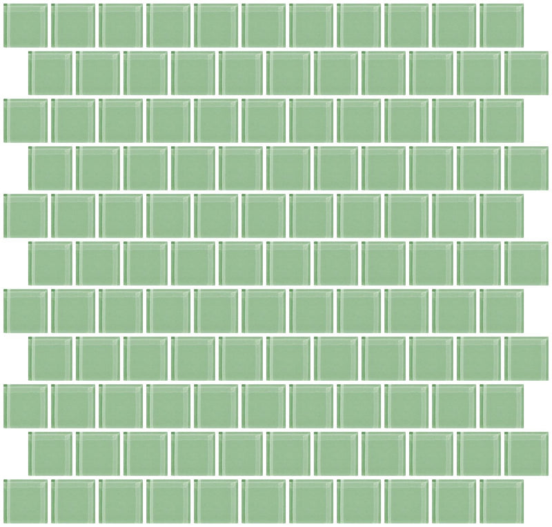1 Inch Retro Mint Green Glass Tile Reset In Offset Layout