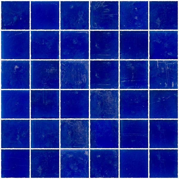 2x2 Inch Matte Cobalt Blue Glass Tile