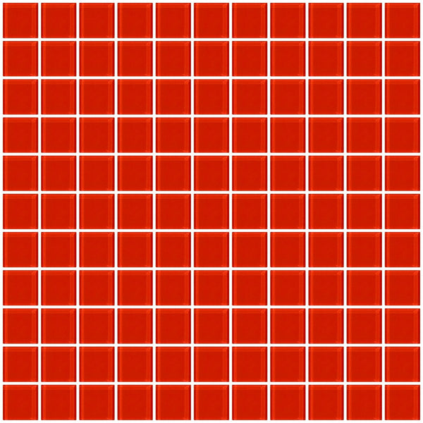 1 Inch Tomato Red Glass Tile