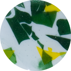 2 Inch Round Spring Sprouts Semi-Transparent Fused Glass Accent Tile