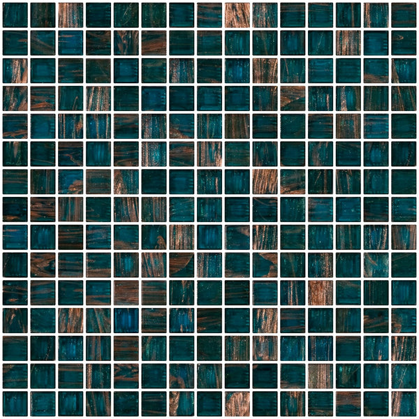 3/4 Inch Blue Green Teal Gold Marbled Glass Tile
