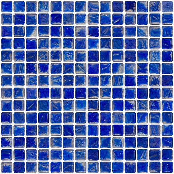 3/4 Inch Cobalt Blue Marbled Glass Tile