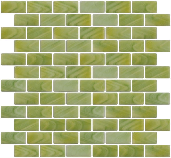 1x2 Inch Sage Green and Cream Swirl Recycled Subway Glass Tile RB