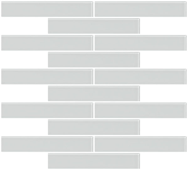 1x6 Inch Light Gray Glass Subway Tile Reset In Running-brick Layout