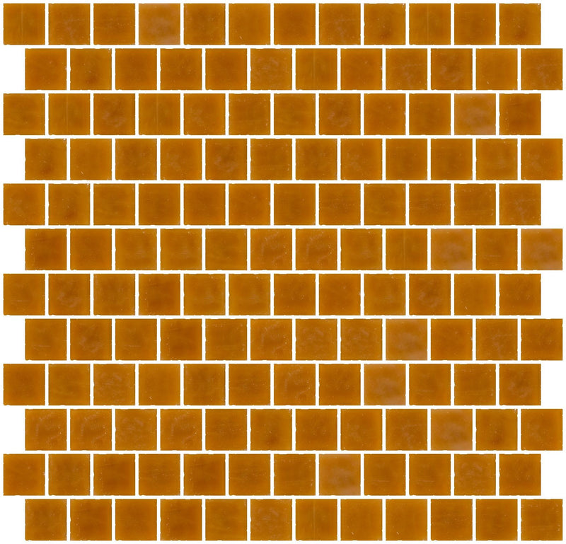 1 Inch Opaque Butterscotch Brown Glass Tile Reset In Offset Layout