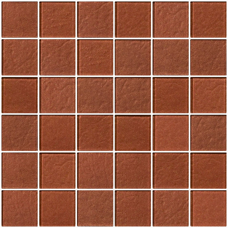2x2 Inch Copper Brown Metallic Glass Tile