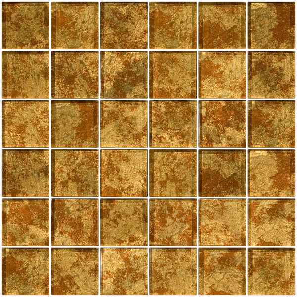 2x2 Inch Patina Bronze Metallic Glass Tile