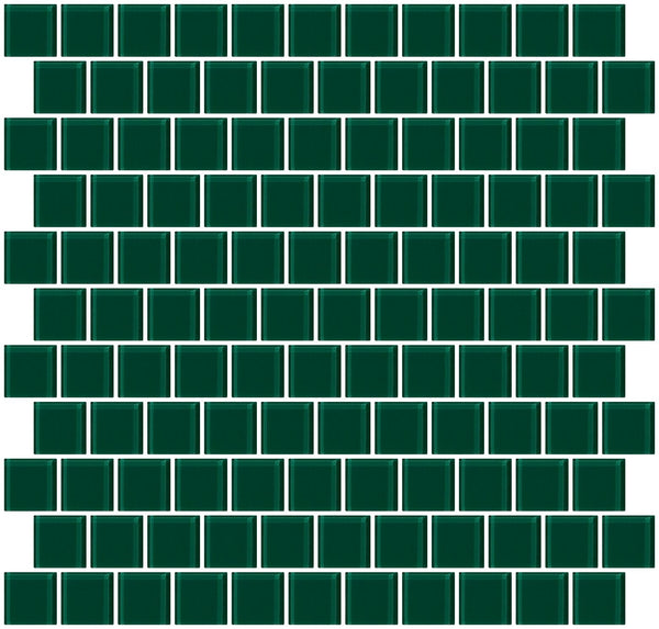 1 Inch Deep Emerald Teal Green Glass Tile Reset In Offset Layout