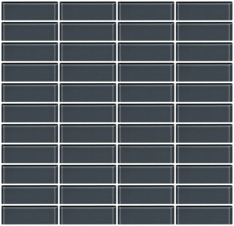 1x3 Inch Medium Gray Glass Subway Tile Stacked