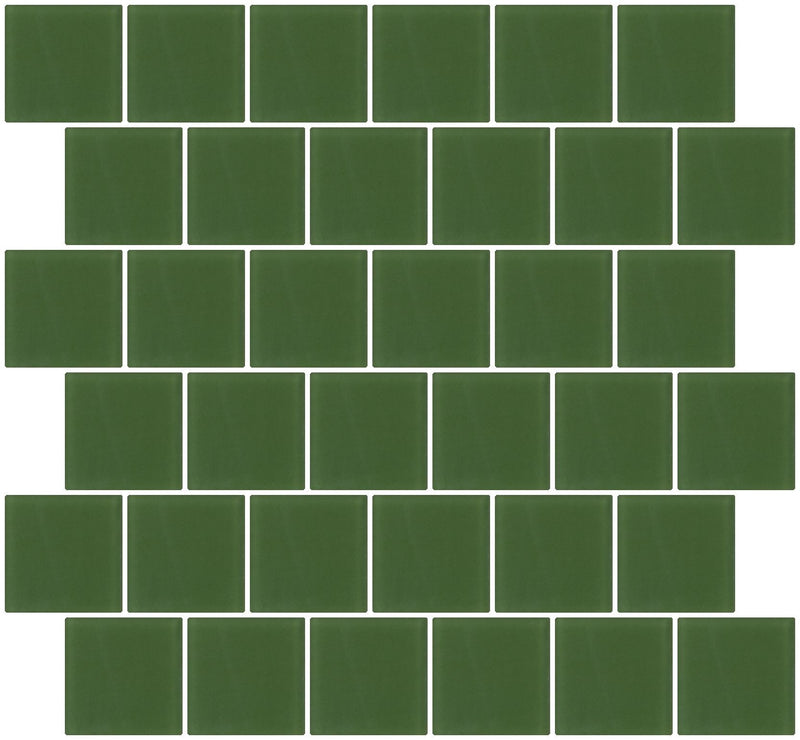 2x2 Inch Medium Dark Green Frosted Glass Tile Reset In Offset Layout