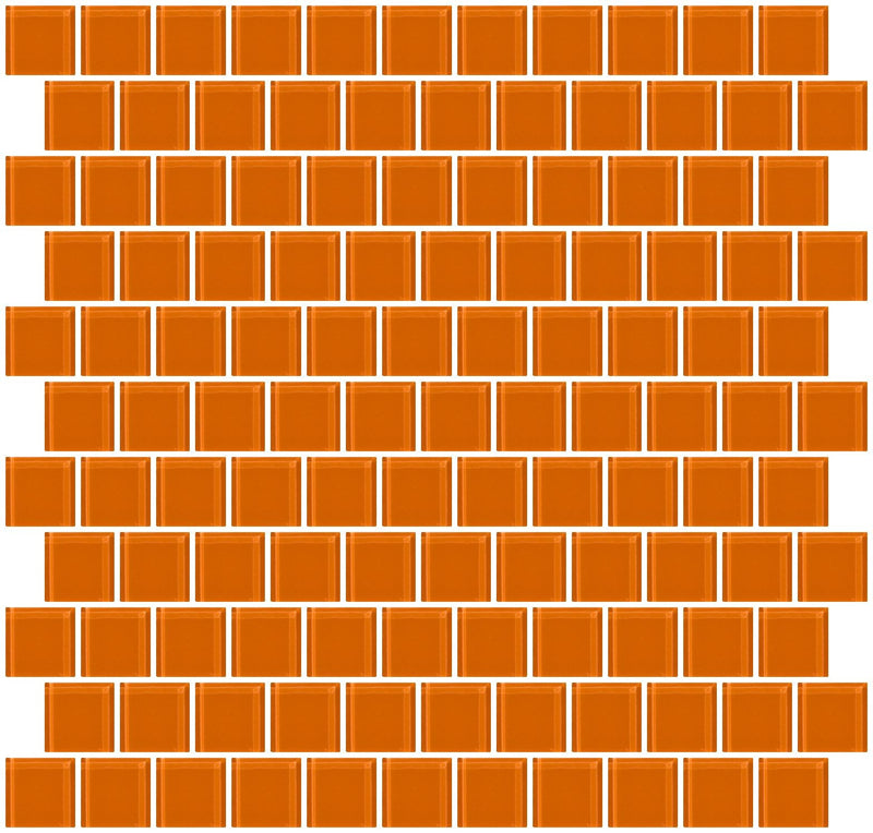 1 Inch Retro Orange Glass Tile Reset In Offset Layout