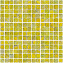 3/4 Inch Yellow Marbled Glass Tile