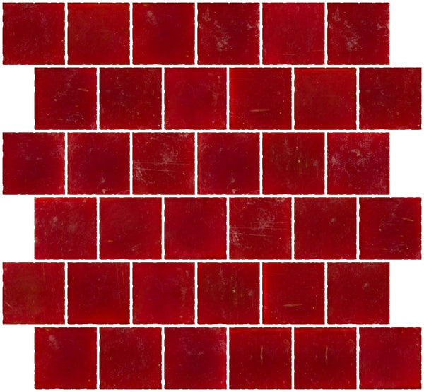 2x2 Inch Matte Red Glass Tile Reset In Offset Layout
