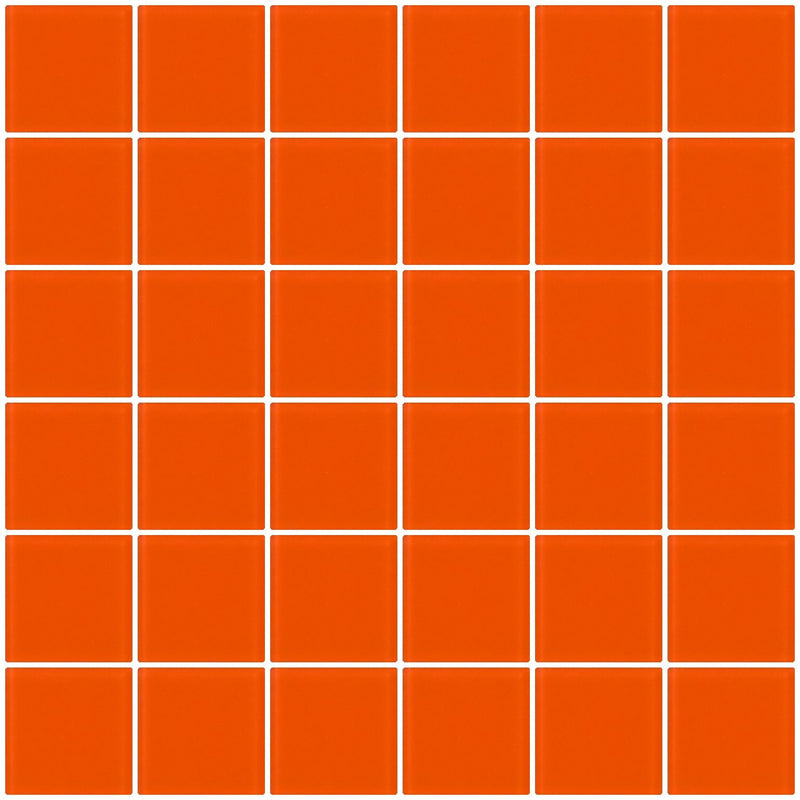 2x2 Inch Bright Orange Frosted Glass Tile