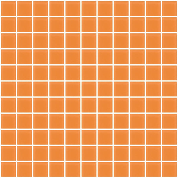 1 Inch Apricot Orange Frosted Glass Tile