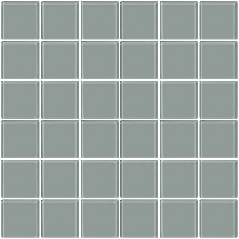 2x2 Inch Gray Glass Tile
