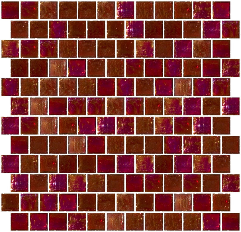 1 Inch Red Iridescent Glass Tile Reset In Offset Layout