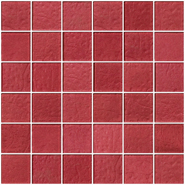 2x2 Inch Red Rose Metallic Glass Tile