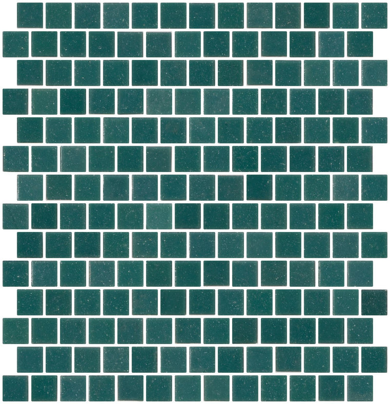 3/4 Inch Confederate Green Glass Tile Reset In Offset Layout