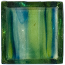 Sample of 1 Inch Transparent Blue and Green Mix Glass Tile