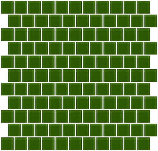 1 Inch Medium Dark Green Glass Tile Reset In Offset Layout