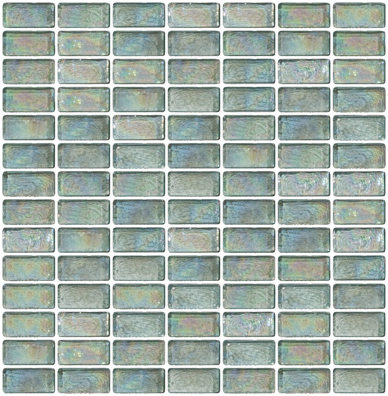3/4 x 1 1/2 Inch Aqua Iridescent Glass Subway Tile Stacked