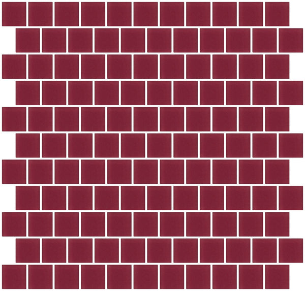 1 Inch Burgundy Red Frosted Glass Tile Reset In Offset Layout